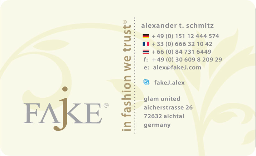 fake j business card design - Fake Business Cards